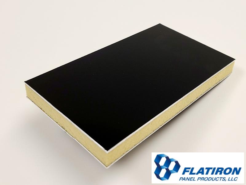 "Aluminum Face Skins, Black Kynar FInish / P400 Polyiso Foam Core Panel - 0.500""T x 48 Inch x 96 Inch"